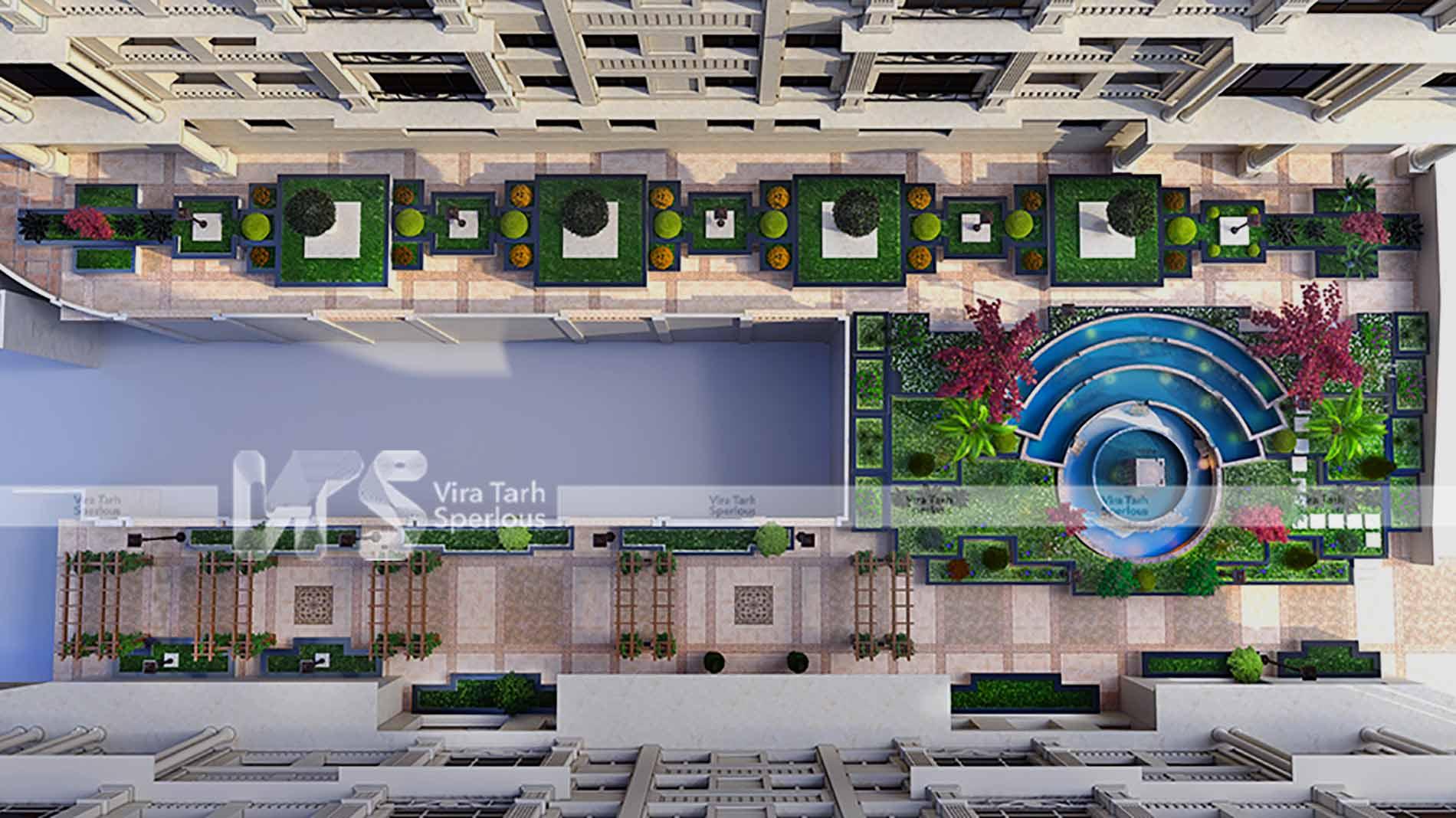 طراحی محوطه مجتمع مسکونی